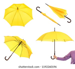 Set with elegant yellow umbrella from different views on white background
