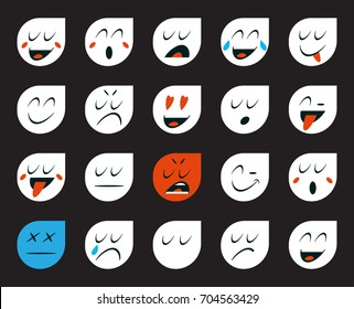 Set of Emoticons or Emoji. Raster Illustration.
