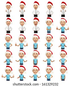 set of emotional christmas man and woman over white background