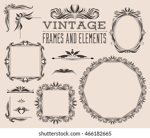 Set of empty frames, corners and borders, vintage victorian style with curls and swirls. Decorative collection for pictures and photos. Retro design for albums, menu, brochures, labels