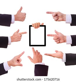 Set empty hand of businessman in suit gives bar shows keeps tablet PC. Closeup isolated