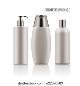Set of empty realistic package for cosmetic product. Collection of blank template of plastic container with pump, tube, bottle with dispenser, spray. Mockup of packages isolated on white