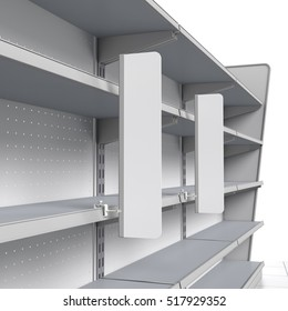 set of empty shelves with shelf-stopper in supermarket. 3D rendering