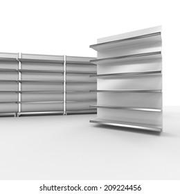 set of empty supermarket shelves in perspective. render