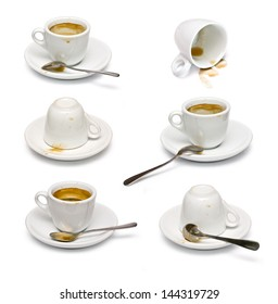 set of Empty used cup, saucer and silver spoon isolated over white.