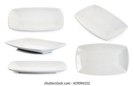 Set empty white square plate isolated on white background.