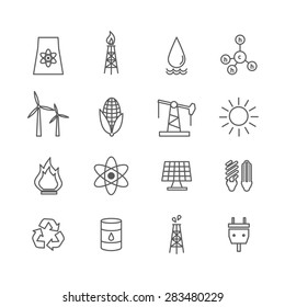 Set of energy icons in art line style. Electricity water and wind, solar and oil, gas and nuclear