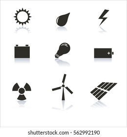 Set energy icons gray with a mirror reflection,  illustration.