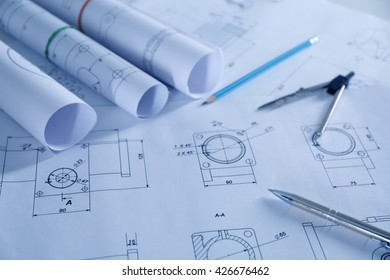 Set of engineering drawings closeup