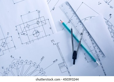 Set of engineering drawings, top view