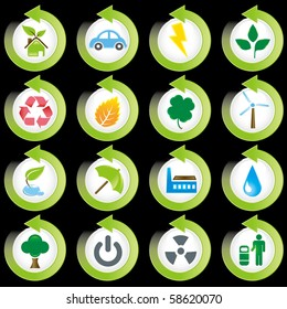 Set of environmental green icons