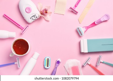 Set for epilation on color background, flat lay