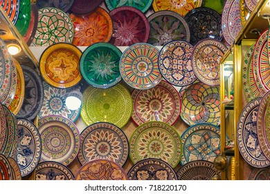 Set of ethnic dishes. Wall dish background
