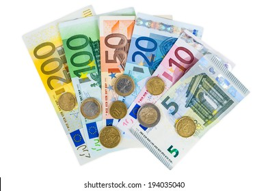 Set of euro banknotes and coins isolated on white background with clipping path