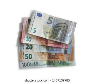 set of euro banknotes on white