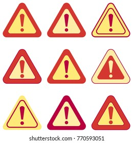 Set of exclamation signs. Collection of various colored signs