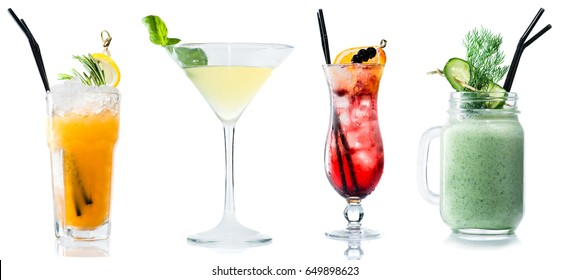 Set of exotic alcohol cocktail isolated on white background