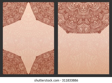 Set of exotic template for design wedding invitations and greeting cards. Ethnic henna flowers mehndi elements of  Indian or Asian patterns. Hand drawing painting. Rasterized version.