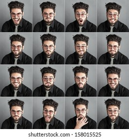 set of expresions of handsome man with eye glasses and beard against dark wall background