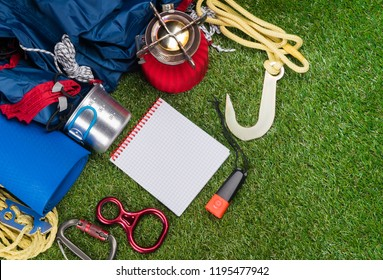 set for extreme outdoor sports lies on the grass