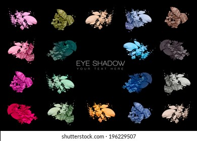 Set of eye shadow swatches isolated on black background. Cosmetics. Beauty concept