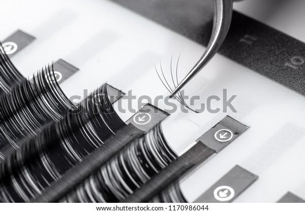 Set eyelash extension tools white isolated background
