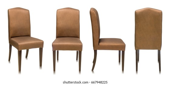 set of fabric chair isolated on white background