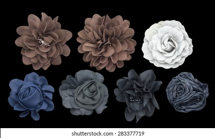 Set of fabric flower isolated on a black background