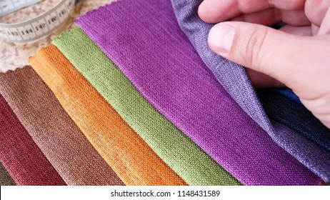 Set Of Fabric Samples. Clothing Designer Or Tailor Working And Choose Textile Textures Fabric Swatches. Choice of Fabrics Tissue Samples for Upholstery Or Clothing