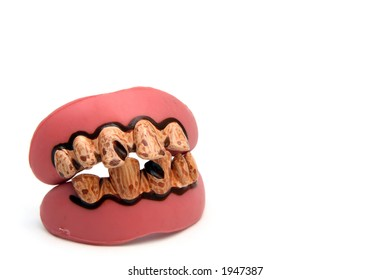 A set of fake costume teeth for Halloween.