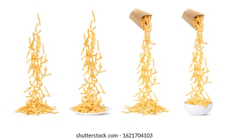 Set of falling french fries flies in a white background