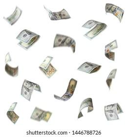 Set of falling money on white background