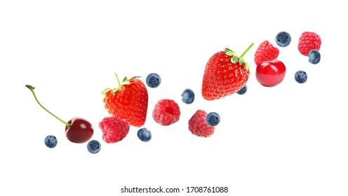 Set of falling sweet berries on white background. Banner design