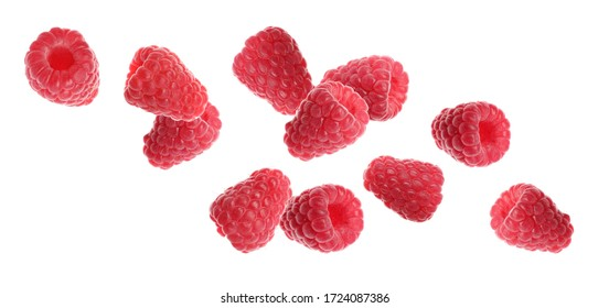 Set of falling sweet raspberries on white background. Banner design