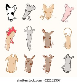 set of farm animals made in cartoon style. Bull, cow, mouse, pig, sheep, horse, goat, duck, donkey, swine and other mammals.