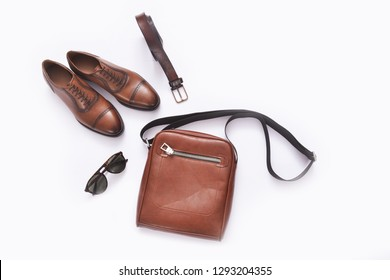 set of fashion casual man`s accessories on white background