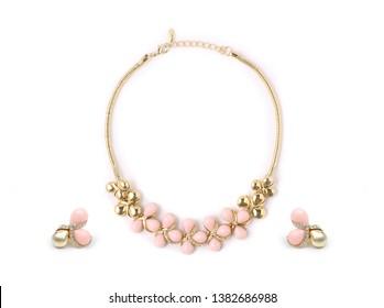 Set of fashion jewelry isolated on white background