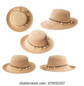 Set of Fashion lady hat on white background.