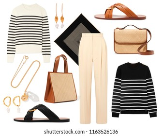A set of fashionable clothes and accessories on a white background