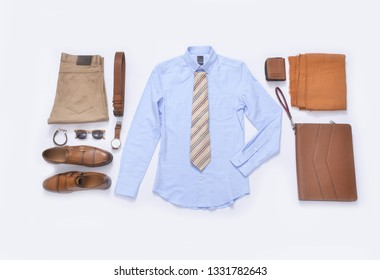 set of fashionable clothes and accessories on a white background