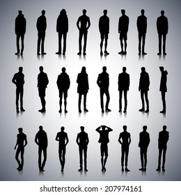 Set of fashionable male silhouettes on abstract background