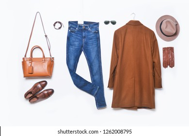 set of fashionable Men's clothes and accessories on a white background