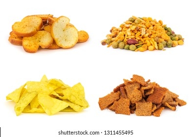 Set of fast food snacks isolated on white. Masala, tortillas, bread rusks, croutons