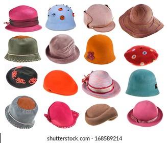 set of felt ladies hats isolated on white background