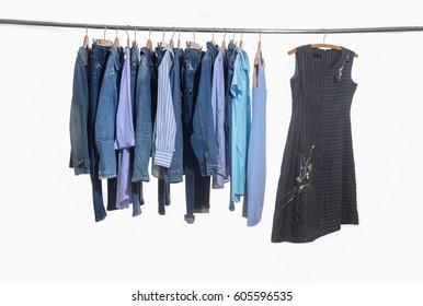 Set of female clothing ,sundress ,coat, jacket on a rack