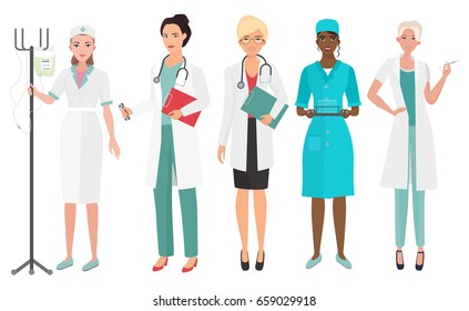 Set of female doctors in different poses. Woman doctor nurse.  illustration.
