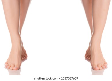 Set female feet legs heel of foot from different directions medicine beauty health on a white background isolation