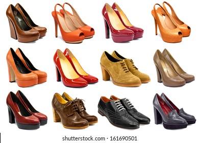 Set of female footwear on white background