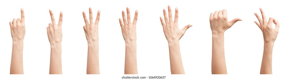 Set of female hands