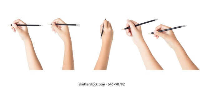 Set of female hands with pencil isolated on white background